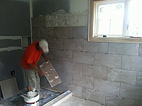 Tile Installation in Progress